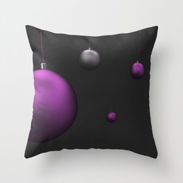Set of purple and silver christmas balls Throw Pillow