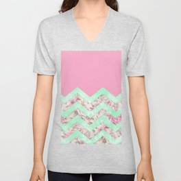 Girly Mint Green Pink Floral Block Chevron Pattern Unisex V-Neck