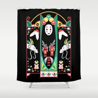 deco Shower Curtains featuring Spirited Deco by Ashley Hay