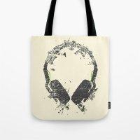 deadmau5 Tote Bags featuring Art Headphones V2 by Sitchko Igor