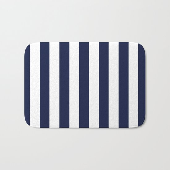 Maritime pattern- darkblue stripes on clear white- vertical Bath Mat