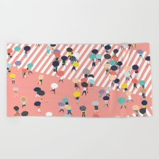 Crossing The Street On a Rainy Day Beach Towel