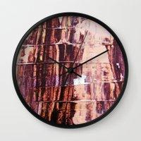 burgundy Wall Clocks featuring Burgundy by Charlotte Chisnall