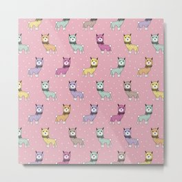 Sweet kawaii Llama print winter alpaca pastals Metal Print