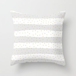 Simple Christmas seamless pattern Yellow Gold Confetti on Silver Grey and White Stripes Background Throw Pillow