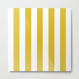 Durian Yellow - solid color - white vertical lines pattern Metal Print