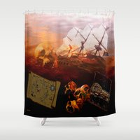 pirates Shower Curtains featuring Pirates  by valzart