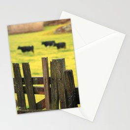 Pasture, fence and cows Stationery Cards