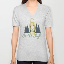Be the Light Christian Inspiration Lantern  Unisex V-Neck