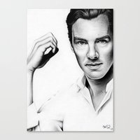 cumberbatch Canvas Prints featuring Benedict Cumberbatch by Denda Reloaded