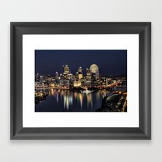 Moon Rise Over Pittsburgh Framed Art Print