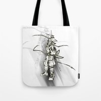 iron maiden Tote Bags featuring Maiden by Andre Kang