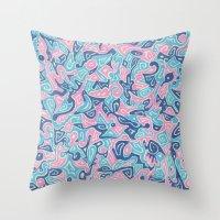 sylvia plath Throw Pillows featuring Sylvia by Leah Moloney