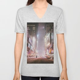 New York City Colorful Snowy Night in Times Square Unisex V-Neck
