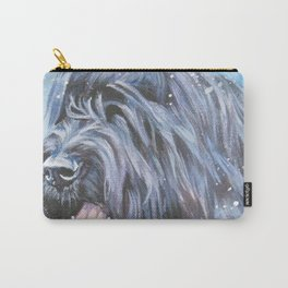 black Briard dog portrait art from an original painting by L.A.Shepard Carry-All Pouch