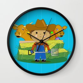 Rancher Dude With Cattle (Kawaii Style) Wall Clock