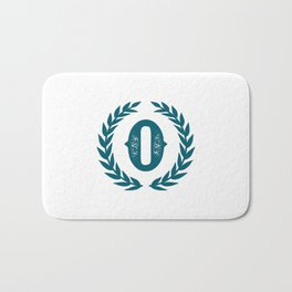 Dark Teal Monogram: Letter O Bath Mat