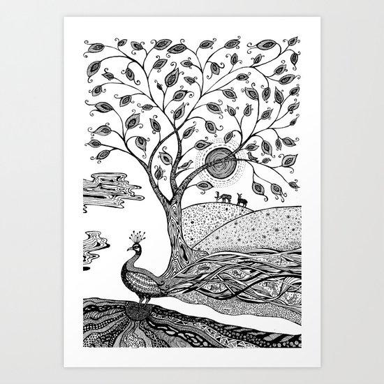 Peacock Fantasy Art Print