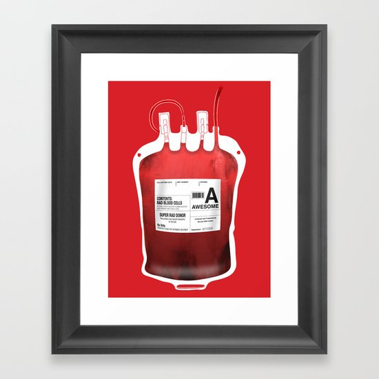 My Blood Type is A, for Awesome! *Classic* Framed Art Print