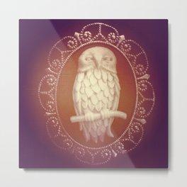 Owl Cameo Brooch Metal Print