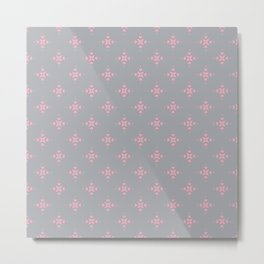 Ornamental Pattern with Grey and Pink Colourway Metal Print