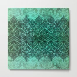 ABERDEEN HEIRLOOM, LACE & DAMASK: ARTISTIC AQUA Metal Print