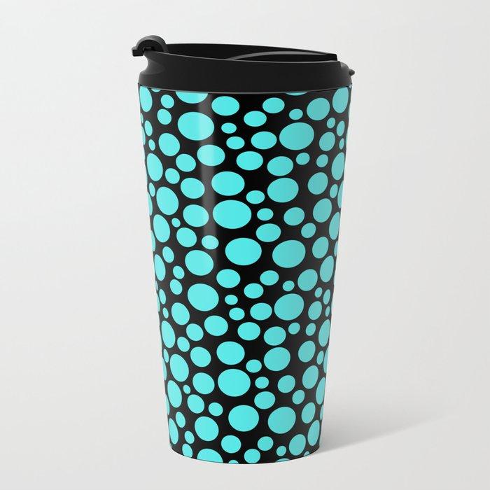 Turquoise polka dots on a black background. Metal Travel Mug