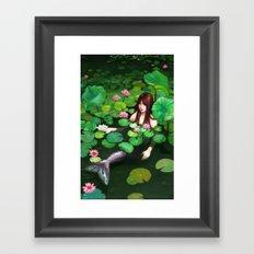 Mermaid Among Lillies Framed Art Print