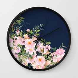 Boho, Floral Watercolor, Roses, Navy Blue and Pink Wall Clock