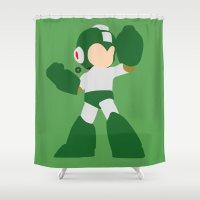 megaman Shower Curtains featuring Mega Man(Smash)Green by ejgomez