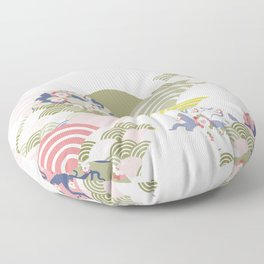 scales simple Nature background with japanese sakura flower, rosy pink Cherry, wave circle pattern Floor Pillow