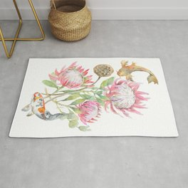 King Protea and Fish Watercolor Rug
