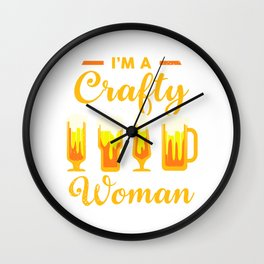 Crafty Woman Craft Beer Lover Party Gift Women Wall Clock