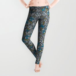 Asha Floral - Blue Leggings