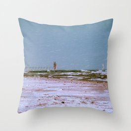 Snow on the Beach in South Haven Michigan Throw Pillow