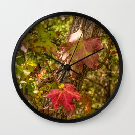 Red Leaves Enchantment Wall Clock