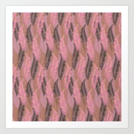 Feather Stripe in Pink & Grey Art Print