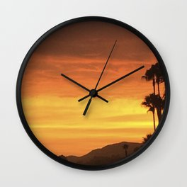 Fire in the Skies Above the Mountains of Malibu Wall Clock