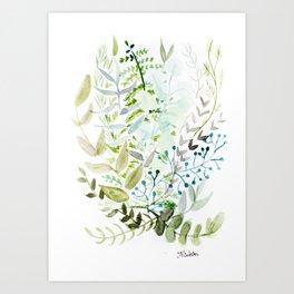Botanic Greens Art Print