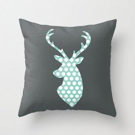 Deer head, art, polka dot, modern, vintage Throw Pillow