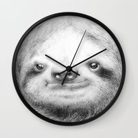 sloth Wall Clocks featuring Sloth by Eric Fan