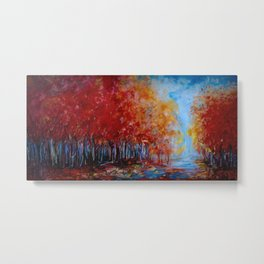 Red Fall Forest Panorama Metal Print