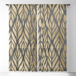 Havana Sultry Night Gold and Black Art Deco Sheer Curtain