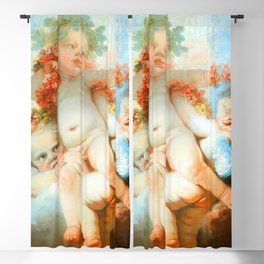 "Jean-Honoré Fragonard ""Three Putti crowned with flowers"" Blackout Curtain"