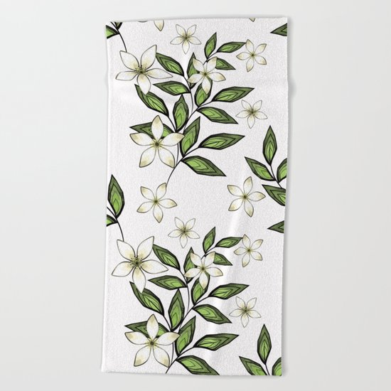 White flowers. Beach Towel