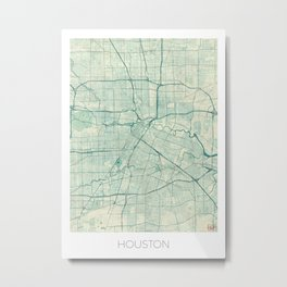 Houston Map Blue Vintage Metal Print