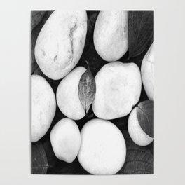 Zen White Stones On A Black Background #decor #society6 #buyart Poster