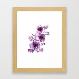 watercolor hand painted purple roses Framed Art Print