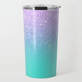 Modern mermaid lavender glitter turquoise ombre pattern Travel Mug