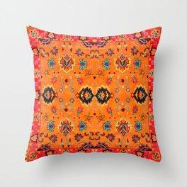 Orange Bohemian Oriental Traditional Moroccan Artwork Throw Pillow